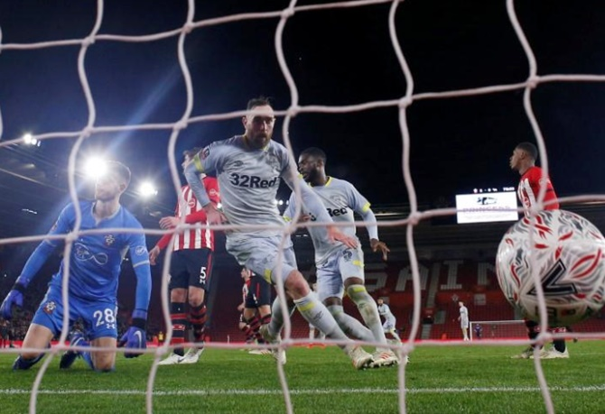 Rediff Sports - Cricket, Indian hockey, Tennis, Football, Chess, Golf - FA Cup: Derby defy VAR decision to knock out Southampton on penalties