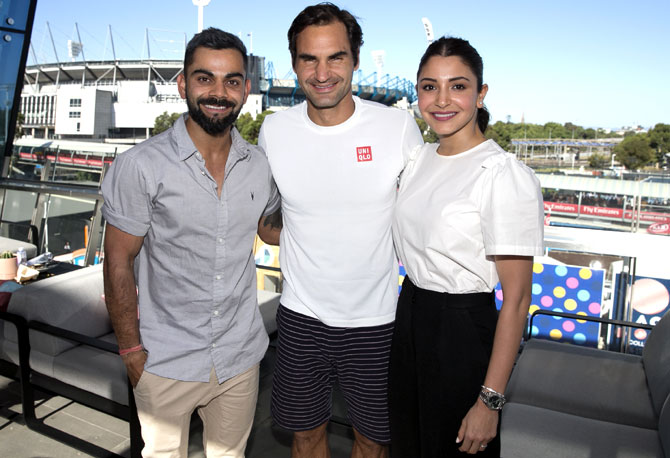 Rediff Sports - Cricket, Indian hockey, Tennis, Football, Chess, Golf - PIX: Virat-Anushka catch up with Federer at Aus Open