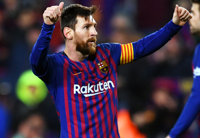 df4be81354c IMAGE: Lionel Messi celebrates scoring the third goal for Barcelona.  Photograph: David Ramos/Getty Images
