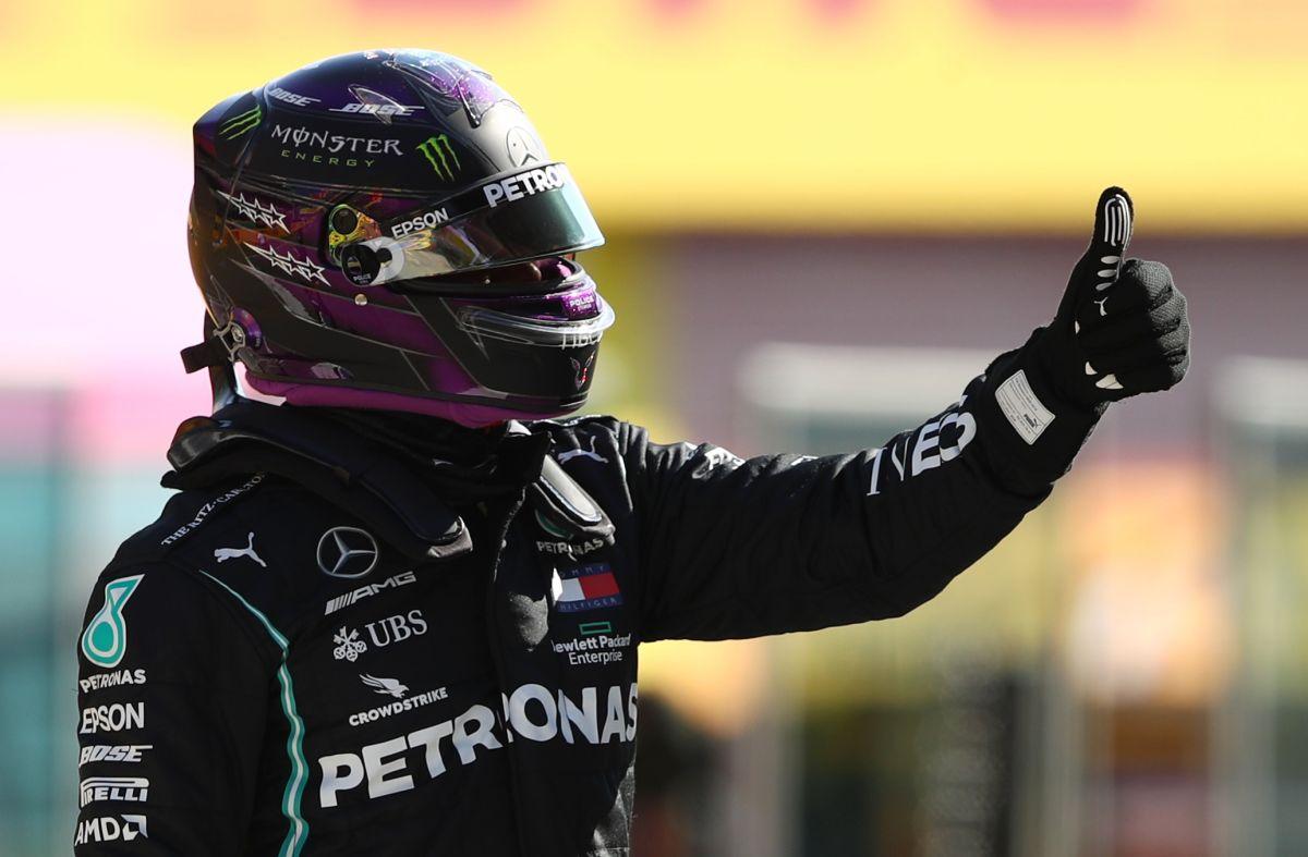 Mercedes' Lewis Hamilton celebrates qualifying in pole position at the Tuscan Grand Prix in  Mugello, Scarperia e San Piero, in Italy on Saturday