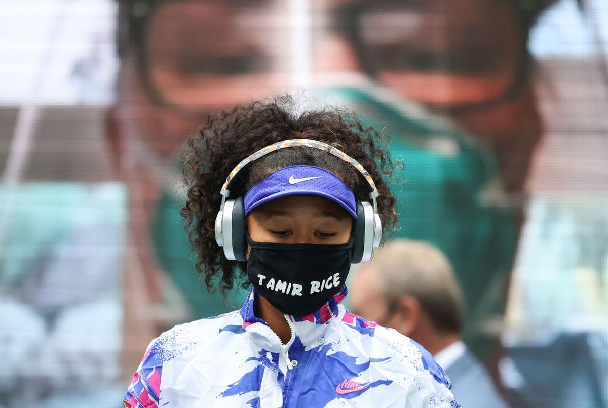 Naomi Osaka walks onto court before the US Open final at the USTA Billie Jean King National Tennis Center in the Queens borough of New York City on Saturday
