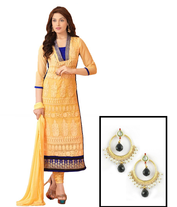 Yellow and blue salwar kameez