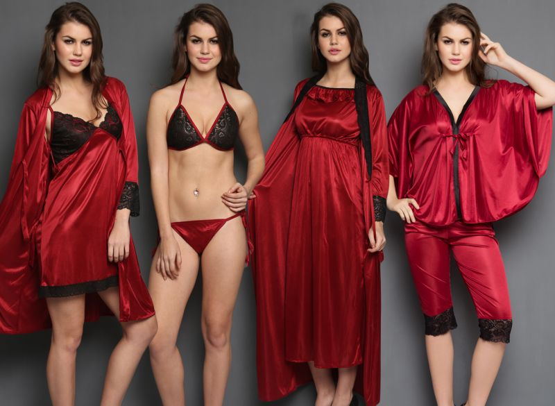 Cloe 8 PCs Maroon Color Nighty Set For Valentine Gift