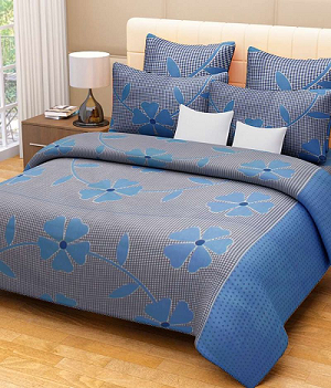 Floral Blue Bed Sheet
