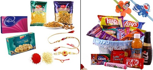 Rakhi sweets and snacks hamper