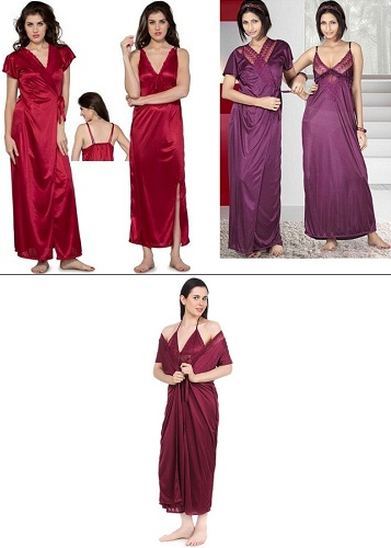 Satin gown and robe set
