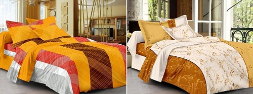 Yellow and beige bed sheets