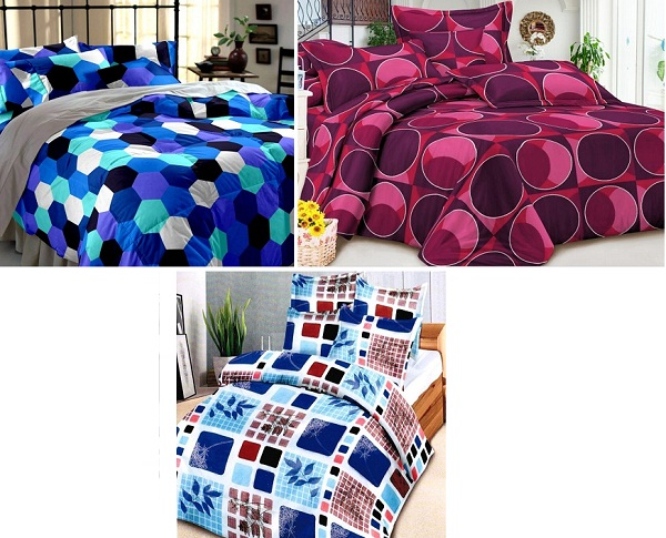 Geometric print bed sheets