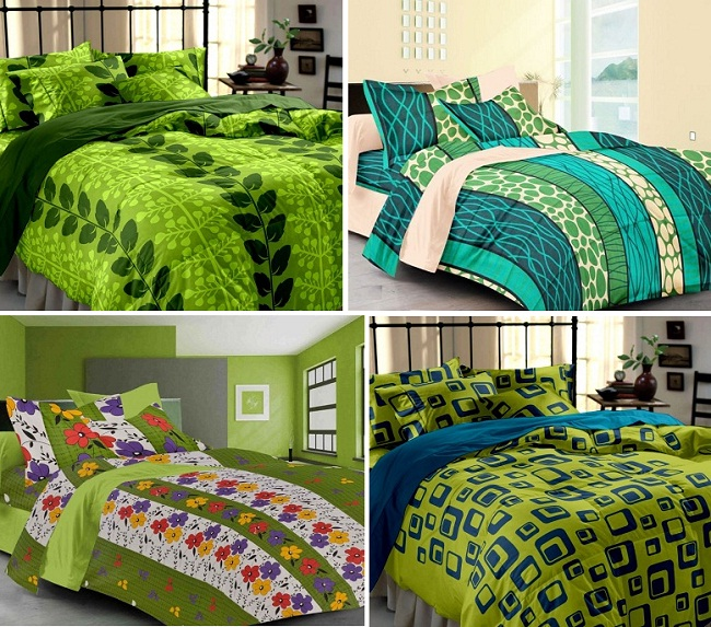 Green bed-sheets