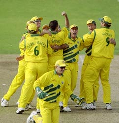 The Australian team celebrate after reaching the 1999 World Cup final