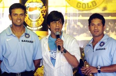 Rahul Dravid, Shah Rukh Khan and Sachin Tendulkar