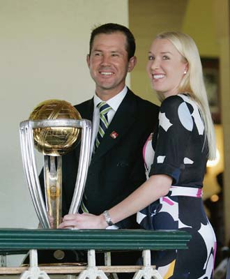 Ricky Ponting with wife Rianna