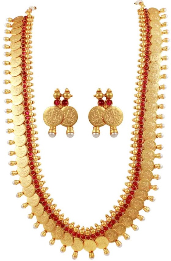 south beads gold necklace and pin rolled jewel hand amulet thali marriage indian