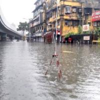 A flooded road in Mumbai today. Pic: Sahil Salvi