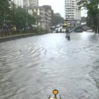 A flooded street at Parel, Mumbai this morning