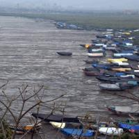 Fishermen anchor their boats ahead of cyclone Nisarga in Uttan, Thane district. Photograph: Santosh Hirlekar / ANI Photo.