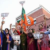 Early celebrations in the BJP camp