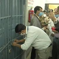 A strong-room with EVMs being opened in Indore