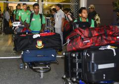 PIX: Depleted Bangladesh touch down in India