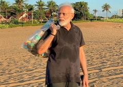 PM Modi goes 'plogging' on Mahabalipuram beach