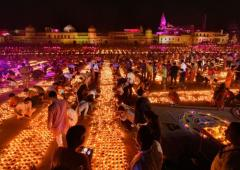PHOTOS: Ayodhya lit-up with 5 lakh diyas on Diwali eve