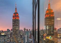 Empire State Building lit up in orange to mark Diwali