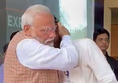 PM Modi gives tight hug to emotional ISRO chief