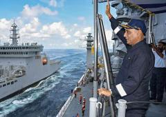 Rajnath's day out on board INS Vikramaditya