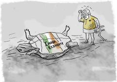 GDP shrinks, pandemic 'act of god' saves Modi govt