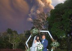 A volcano couldn't stop this couple from saying 'I Do'