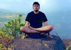 BJP's Tejasvi Surya does yoga on mountaintop