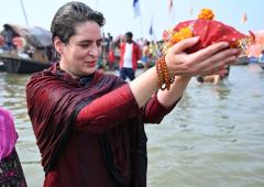 Priyanka takes holy dip in Sangam on Mauni Amavasya