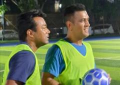 Spotted: Dhoni, Paes playing football in Mumbai