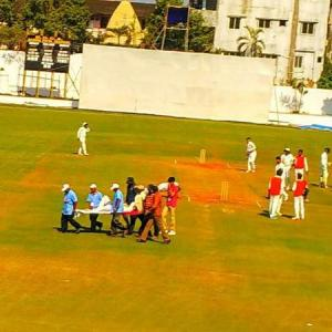 Ranji cricketer hospitalised after being hit on head