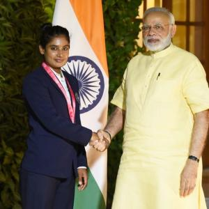PHOTOS: PM Modi interacts with women's cricket team