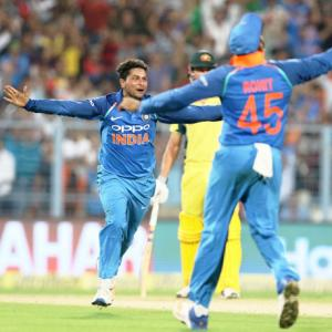 PIX: Kuldeep 'tricks' as India down Aus by 50 runs, lead series 2-0