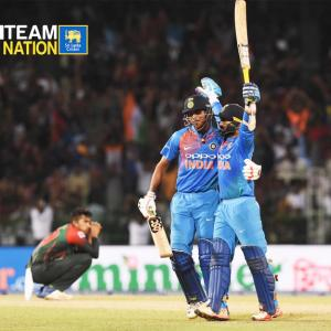 PHOTOS: Karthik six off last ball seals India's T20 tri-series win