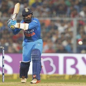 1st T20I PIX: Debutant Krunal shines as India stagger to 5-wicket win