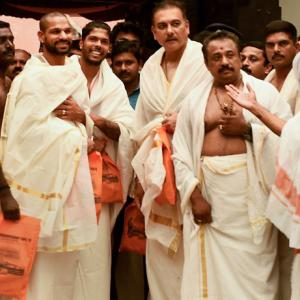 PIX: Coach Shastri, Dhawan, Umesh pray at Padmanabhaswamy Temple!