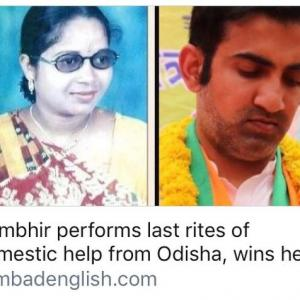 Gambhir performs last rites of domestic help