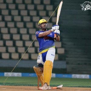Thala Dhoni 'fully loaded' in the nets...
