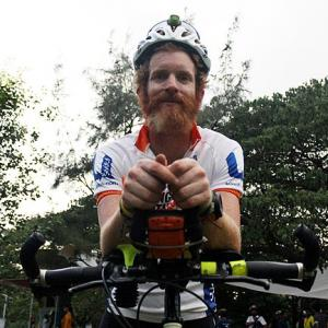 He's cycling around the world to bring light to Africa