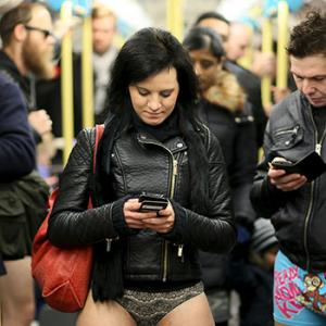 Photos: Travellers strip off for No Pants Day
