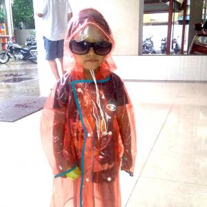 Monsoon pix: Young swag in rain gear