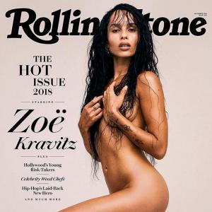 Zoe Kravitz strips for mag cover