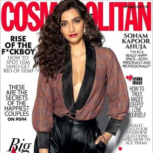Sonam rocks cleavage in a plunging shirt