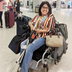 Wheelchair bound, she's travelled solo to 58 countries