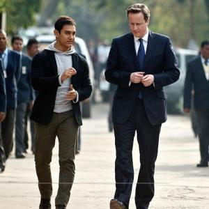 PIX: Aamir Khan's day out with British PM David Cameron