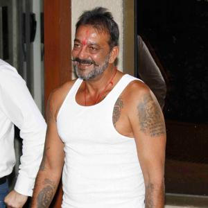 PIX: Sanjay Dutt returns home from jail