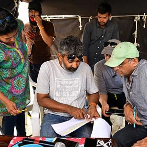 CANDID PICTURES: On the sets of Baahubali
